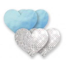 Комплект из 1 пары голубых пэстис-сердечек и 1 пары серебристых пэстис-сердечек с блёстками