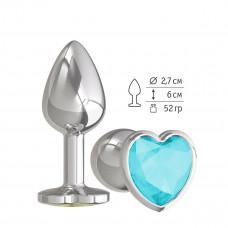 Серебристая анальная втулка с голубым кристаллом-сердцем - 7 см.