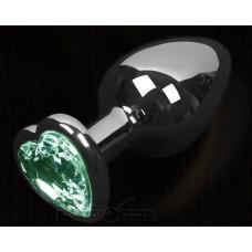 Серая анальная пробка с зеленым кристаллом в виде сердечка - 8,5 см.